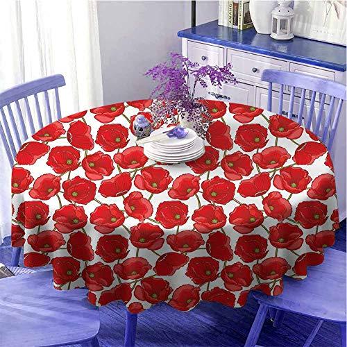 Poppy - Tovaglia rotonda con motivo floreale naturale, bouquet di nozze di fidanzamento ispirato botanico delicato fogliame per parenti, diametro 99,1 cm, rosso, verde, bianco