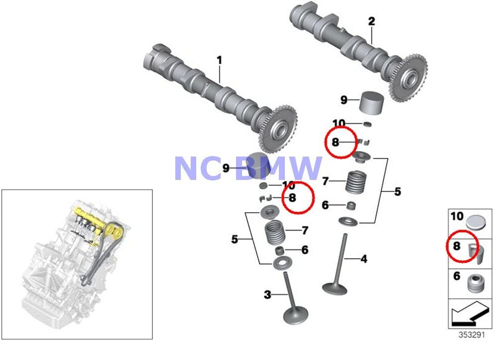 16 X BMW Genuine Motorcycle Discount mail order Valve Outlet sale feature Collet Timing C600 Gear