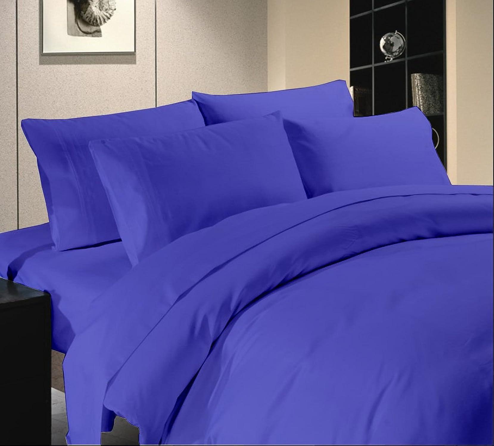 Tula Linen 500TC Parure de lit 100% Coton égypcravaten Bleu Royal Solide Unique Long 10cm de Profondeur Poche