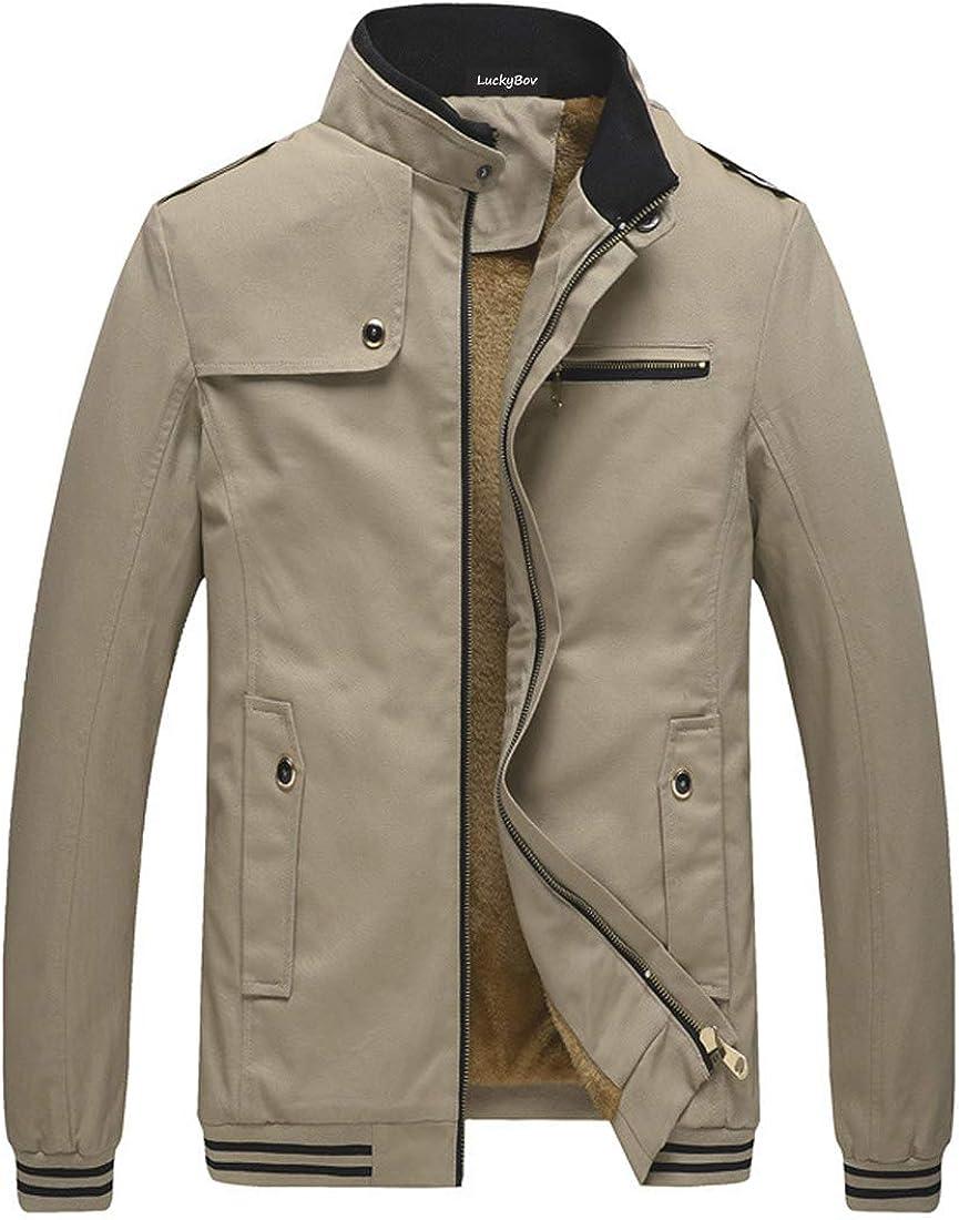 LuckyBov Winter Jacket Men Fleece Lined Zipper Full Outdoor Bomber-Jacket Warm