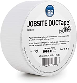 """IPG 6720WHT JobSite DUCTape, Colored Duct Tape, 1.88"""" x 20 yd, White"""