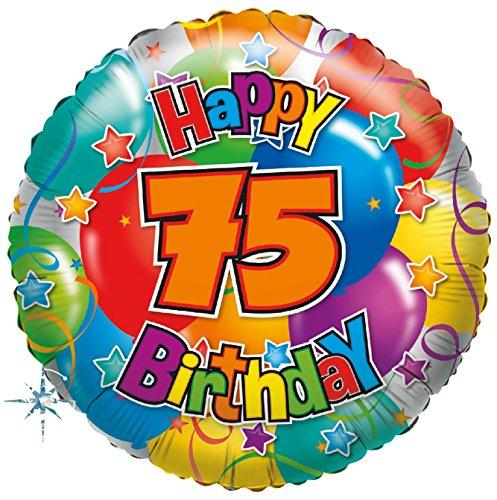 Karaloon F81075P Folienballon Happy Birthday Zahl 75
