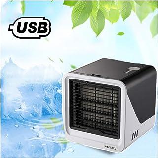 Mini Aire Acondicionado Móvil, Climatizador Evaporativo Humidificador Mini Enfriador De Aire Con 3 Velocidades USB Luz Nocturna Para Hogar Oficina Y Coche,Black