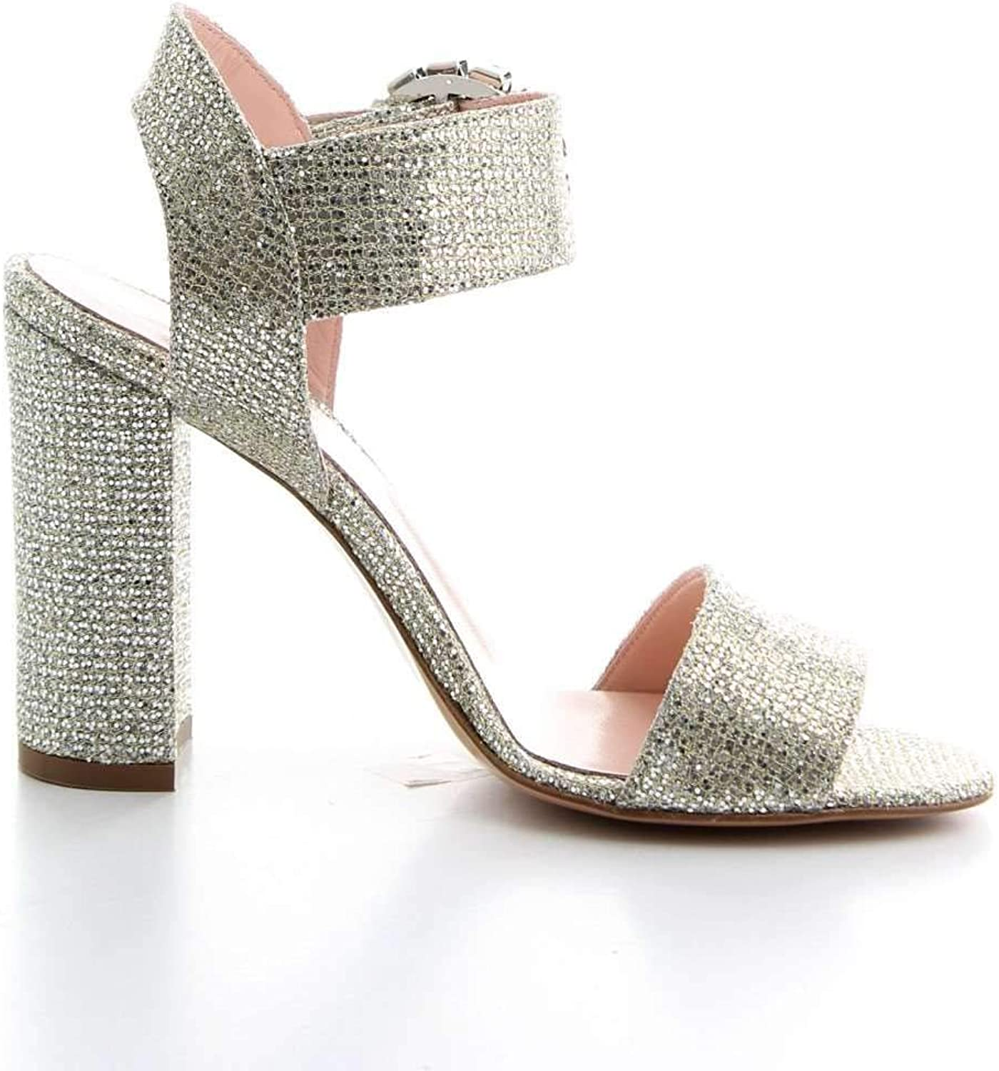 ANNA F Women's 3055SILVER Silver Leather Sandals