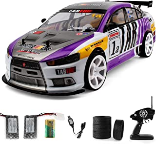 RC Car for Adults, 1/10 2.4G RC Vehicle with LED Headlight Racing Off Road Truck - 4WD High Speed Remote Control 70km/h Racing Drift Car, Electric Toy Gifts for Adults & Kids (Purple)