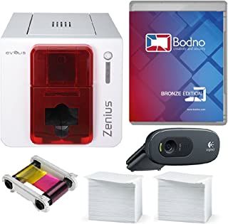 Evolis Zenius Single Sided ID Card Printer & Complete Supplies Package with Bodno Bronze Edition ID Software