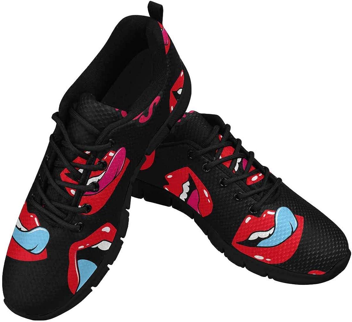 INTERESTPRINT Female Lips Kiss Mile, Tongue, Teeth Women's Athletic Mesh Breathable Casual Sneakers