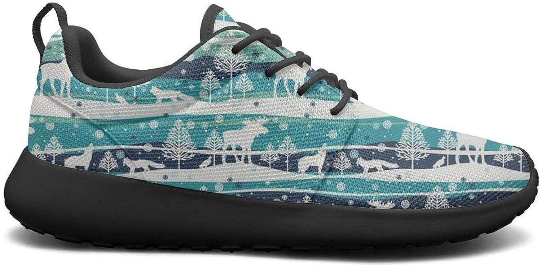LOKIJM Winter Forest Fox Wolf Elk Snow Sneakers for Women New Lightweight On Running shoes