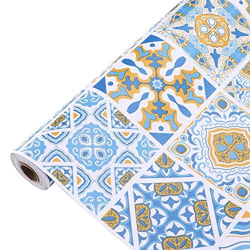 Mosaikfliese Klebefolie Fliesen Selbstklebende Tapete Retro und Einfache Fliesenaufkleber Folie DIY Dekorfolie Möbelfolie PVC Fliesensticker für Bad und Küche Fliesenfolie Kacheldekor 61x500cm