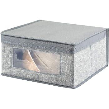 mDesign Caja con tapa - ideal como caja almacenaje para juguetes o caja para guardar ropa - Además tiene un práctica tapa - tamaño mediano - color gris: Amazon.es: Hogar