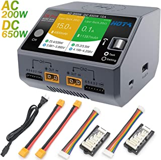 HOTA D6 Pro Lipo Balance Charger Powerful Duo Smart Charger/Discharger Dual Channel AC200W 100-240V DC650W 15A for Lipo LiIon LiHV NiMH Battery with IPS Screen