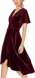 Womens Velvet Pleated Wrap Tie Waist Elegant Flowy Party Plus Size Midi Dresses