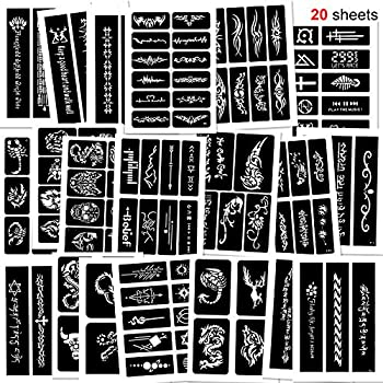 Konsait 123pcs Large Temporary Tattoos Stencils 20 Sheets Boys and Man Glitter Tattoo Kit Templates Face Painting Stencil Body Art Stencil Pack for Adults Girls Women Kids Teenager Adultssigns