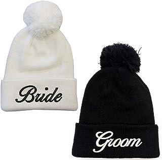 Bride & Groom White Black Pompom Beanie Hat