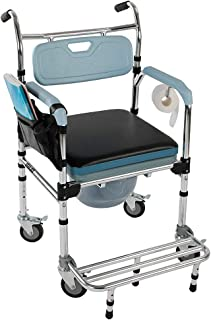 Binlin Shower Wheelchair,4 in 1 Multifunctional Aluminum Elder People Disabled People Pregnant Women Commode Chair Bath Chair Light Blue