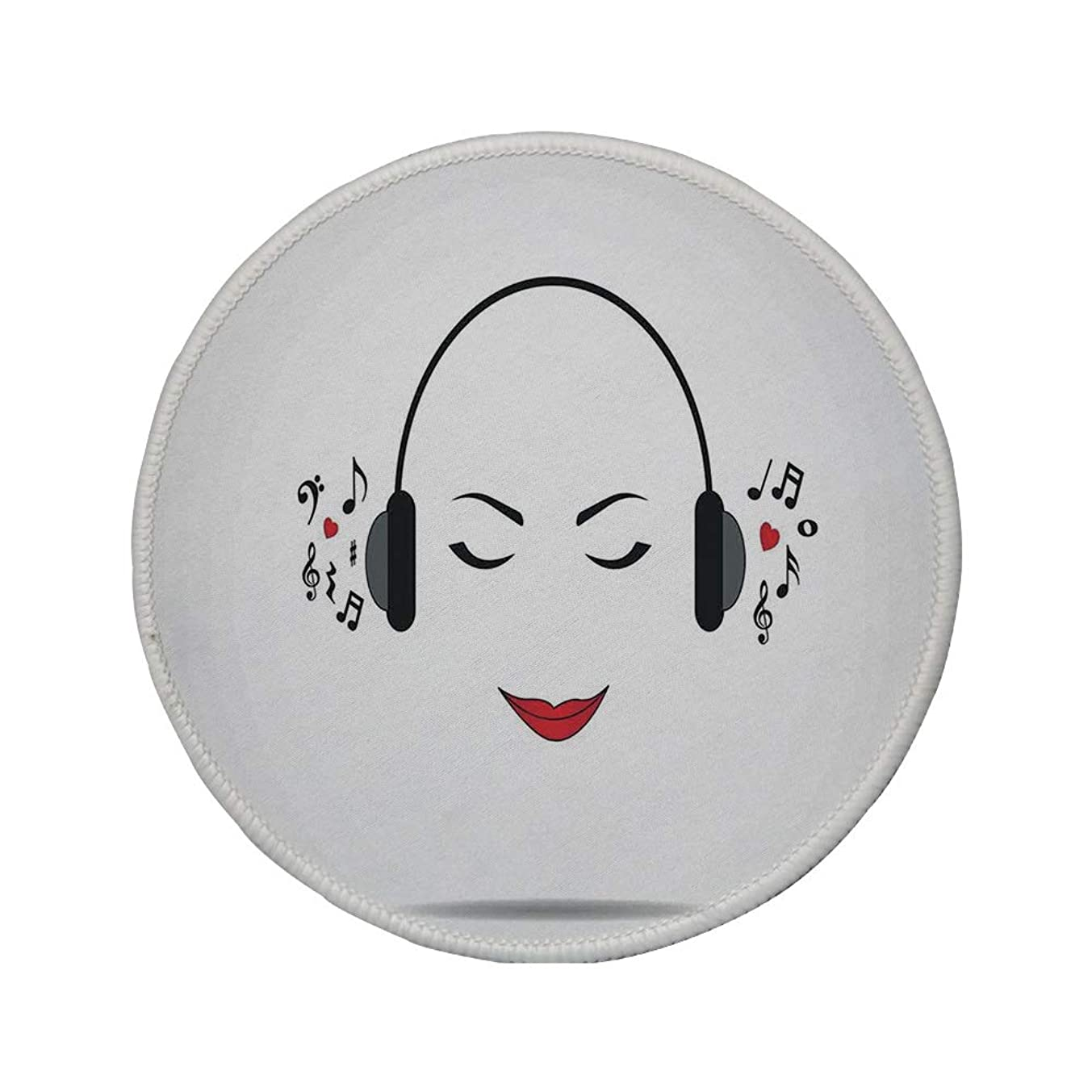 Non-Slip Rubber Round Mouse Pad,Music Decor,Young Lady Listening Music with Earphones Smiling Close Eyed Girl Enjoying Melody Theme,Black White,11.8