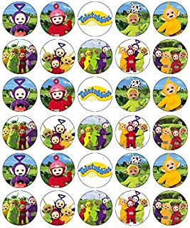 30 Teletubbies Cupcake Toppers Edible Wafer Paper Fairy Cake Toppers Birthday Cakes