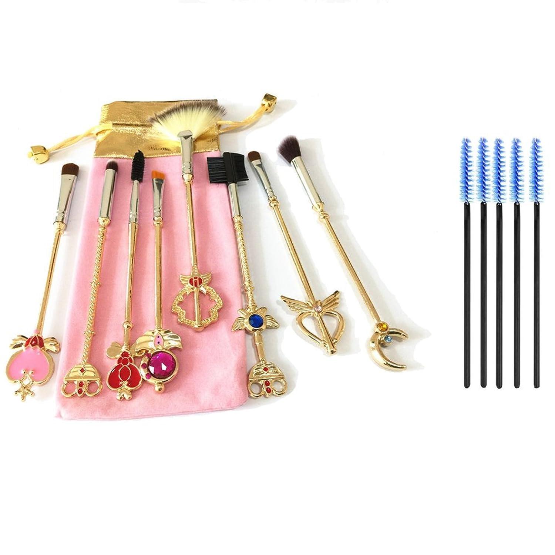 Dilla Beauty メイクブラシセット セーラームーン 8本セット ゴールド メタルハンドル 5本のまつげブラシ付き