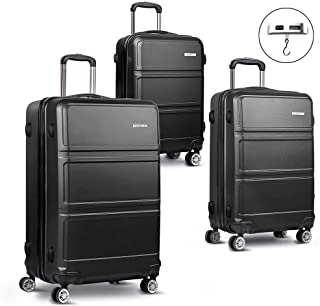 Luggage Set | Wanderlite 3 Pieces Hardshell Spinner Suitcase TSA Lock Trolley Lightweight Suitcase Organizer Sets with Scale | Black