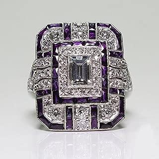 Opal Jewelry Amethyst Silver Wedding Engagement Ring Art Deco Women Jewelry Gift Size 6-10 (6)