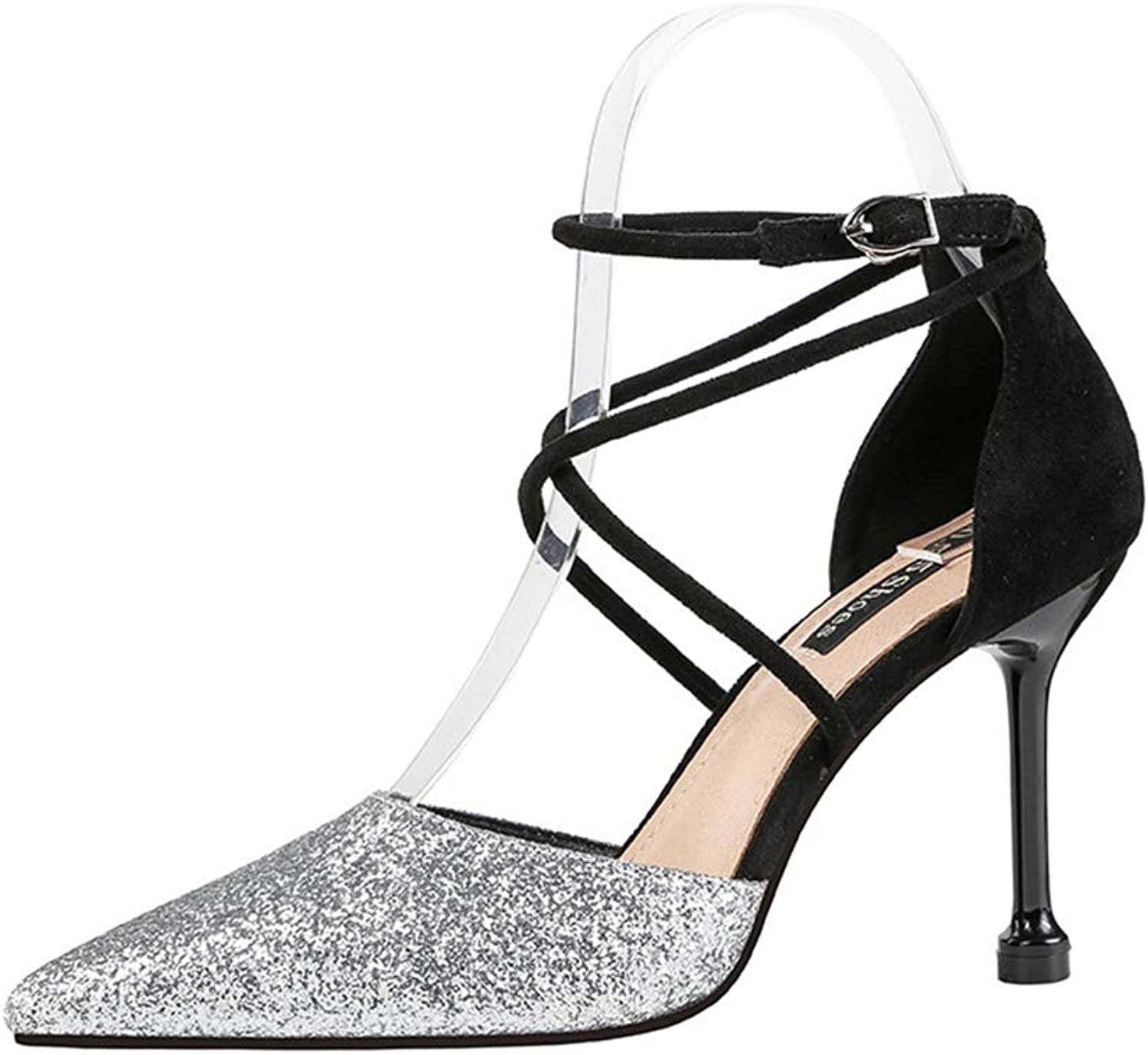 Women's High Heels 2019 New PU Sexy Pointed Stiletto shoes Ankle Buckle Nightclub Sequin Sandals Red Black gold Silver,B,36