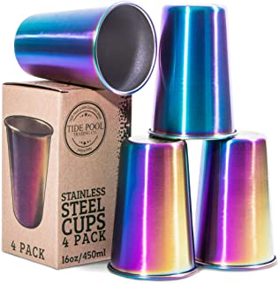 Rainbow Stainless Steel Cups 16 oz 4-Pack   Ideal for Kids & Adults   Reusable Drinking Supplies for Birthday Party, Camping, Travel, Outdoors   Durable & Unbreakable   BPA Free