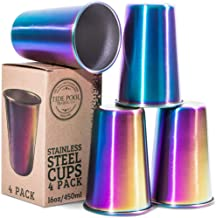 Rainbow Stainless Steel Cups 16 oz 4-Pack | Ideal for Kids & Adults | Reusable..