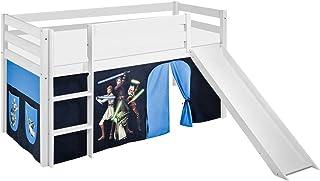 Lilokids Lit Mezzanine JELLE Star Wars The Clone -lit d'enfant Blanc - avec Toboggan et Rideau - lit 90x190 cm