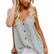 KAIDER Women Tops Tunic Blouse Tie Knot Henley Loose Fitting Bat Wing Plain Shirts