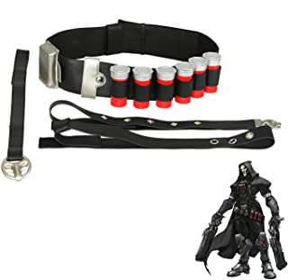 OW Reaper Cartridge Belt PU Leather Cosplay Costume Accessories Props Game Anime Weapon Black