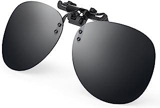 Costyle Black Grey Retro Polarized Clip on Flip up Plastic Sunglasses Driving Fishing Traveling