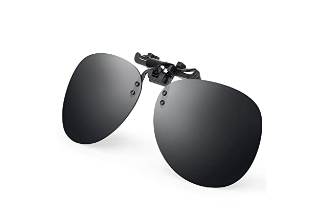 e3caa2c0bb6 Costyle Black Grey Retro Polarized Clip on Flip up Plastic Sunglasses  Driving Fishing Traveling