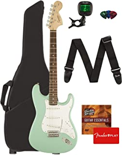 Fender Squier Affinity Stratocaster - Surf Green Bundle with Gig Bag, Tuner, Strap, Picks, and Austin Bazaar Instructional...