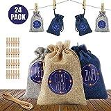 Redmoo 24 Calendario de adviento para llenar Bolsos de Tela, 1-24 números de adviento Adhesivos Bolsos de Tela Bolsos Calendario de adviento Calendario (Azul, Gris, Beige)