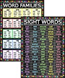 Sight Words and Word Families Posters - Laminated 14x19.5 - Educational Charts, Classroom Posters and Decorations, Back to School Supplies, Learning Posters for Preschool and Kindergarten, Homeschool Decor