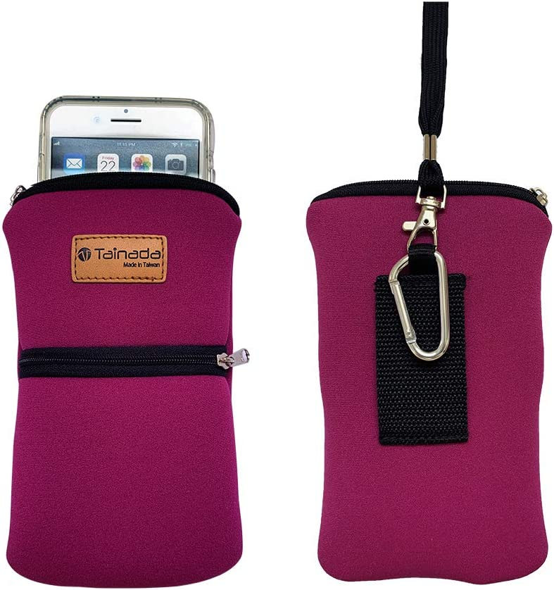 Tainada Men Women Phone Neoprene Shockproof Zippered Sleeve Case Bag Pouch with Carabiner, Neck Lanyard, Belt Loop Holster for iPhone 13 / 12 Pro Max, 11, Samsung S21+, S20 FE, S21, Note 20 (Fuchsia)
