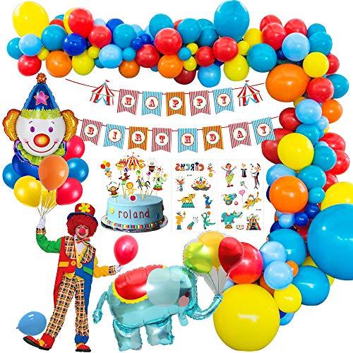 MMTX Karneval Zirkus Geburtstag Dekoration Junge, Geburtstagsdeko Party Mädchen mit Alles Gute zum Geburtstag Banner, Elefant Clown Folie Luftballon zum Zirkus Vergnügungspark Geburtstag Dekoration