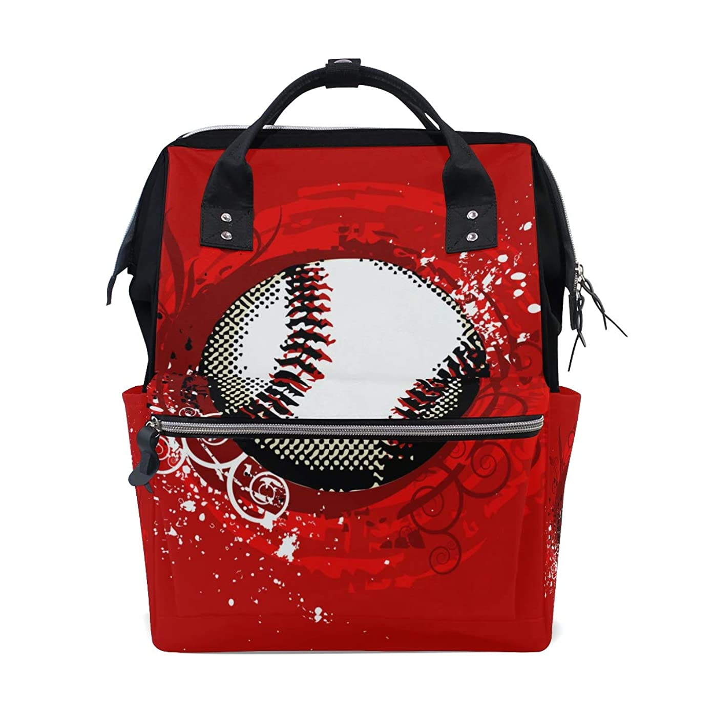 Red Baseball School Backpack Large Capacity Mummy Bags Laptop Handbag Casual Travel Rucksack Satchel For Women Men Adult Teen Children