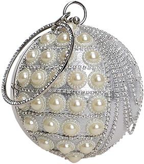 Hi-Smile Mini-Geldbörse Damen Runde Ball Clutch Perle Diamant Quaste Abendtasche Hochzeit Geldbörse Party Prom Handgelenk Tasche Handtaschen Geldbörse (Farbe : Silver, Größe : Diameter13cm)