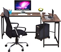 WESTEROS Modern L-Shaped Corner Computer Office Desk PC Laptop Table Workstation Home Office, Walnut + Black Leg