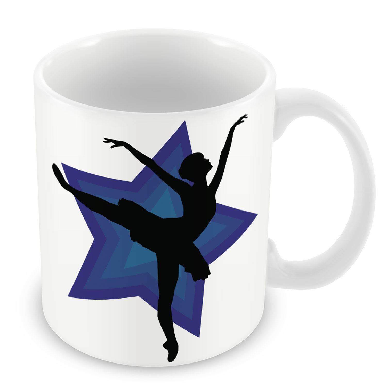 Taza de Cerámica Negro Silueta del bailarín Estrella Haciendo un ...