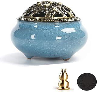 Biluer Bruciatore di Incenso in Ceramica Porta Incenso in Porcellana Supporto per Bastoncini Incenso con Supporto in Otton...