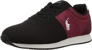 POLO RALPH LAUREN Kids' Brightwood Sneaker, Black/Burgundy, Size 5 M US Big Kid US