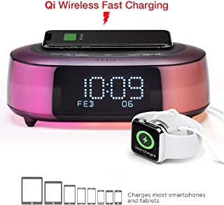 iHome iBTW281 Alarm Clock Radio Wake To Light Bluetooth Speaker with Color Changing and Wireless Qi Fast Charging Built-In Dual Alarm Digital Clock with Dimmer, Snooze, Battery Backup and USB Charging