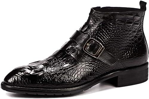 XLY Cuero de cocodrilo Martin botas de Alta para Ayudar a los britáNiños Viento Retro botas Caballo botón de Negocios Vestido de Cuero Puntiagudo botas