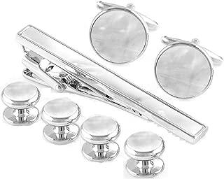 Mother of Pearl Cufflinks & Tie Clip Bar & Studs Tuxedo Set in Presentation Gift Box & Polishing Cloth