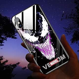 NMEGOU Naruto Sasuke Call Flash Luminescent Glass Anti-Fall Mobile Phone Shell Illuminated for IphoneXR X/XS Max 7/8plus (Venom, iPhone XR)