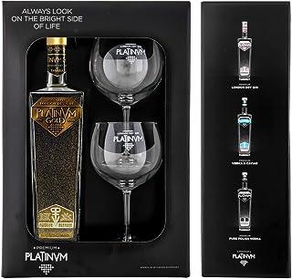 Pack London Dry Gin Platinvm Gold con Oro y dos elegantes