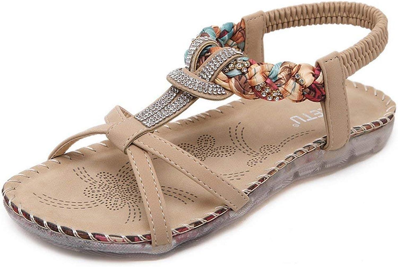 Ghssheh Women's Retro Boho Rhinestone T-Strap Beach Gladiator Comfort Flat Sandals Beige 4 M US