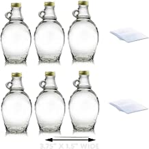 Premium Vials, 8 Ounce, 6 Pack, Empty Glass Syrup Bottles with Shrink Bands For Canning, with Gold Metal Lids, Glass Maple Syrup Bottles